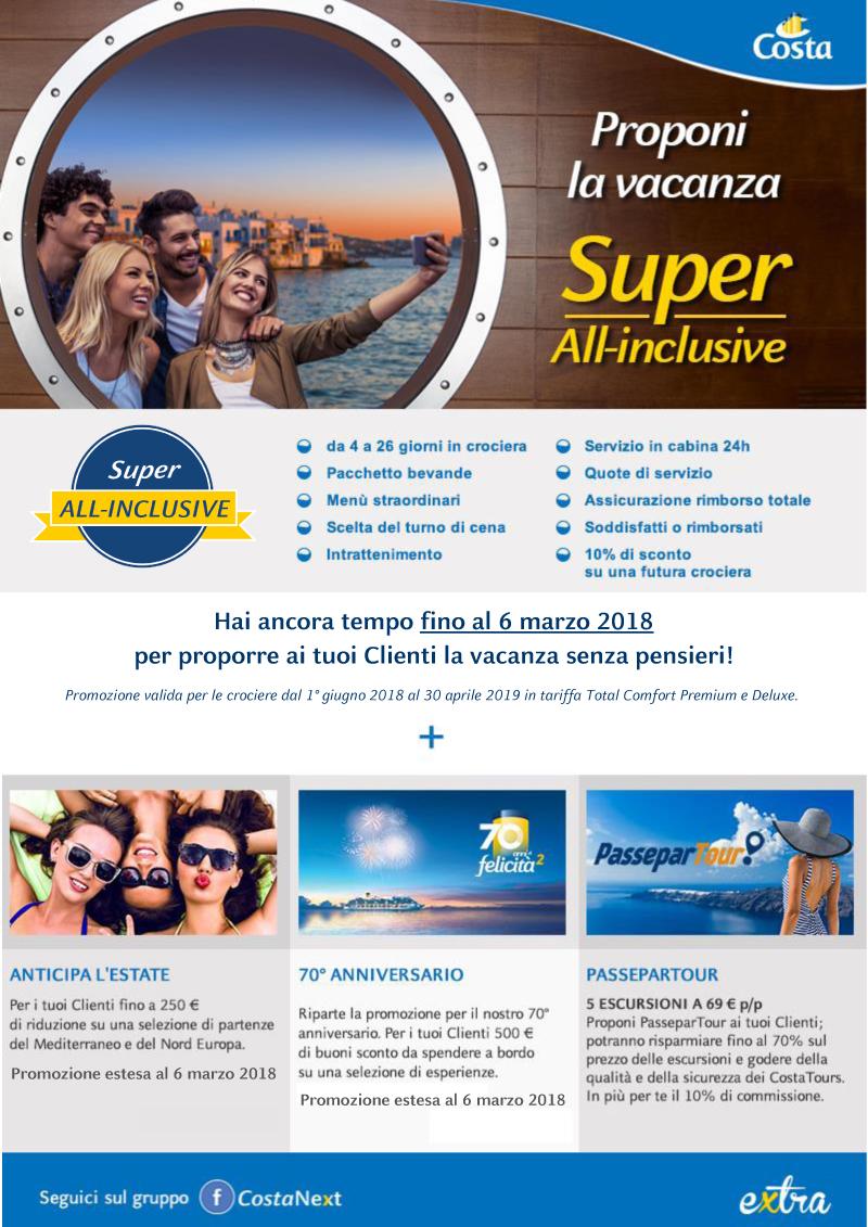 SUPER ALL-INCLUSIVE DI COSTA CROCIERE> prorogato fino al 6 marzo!
