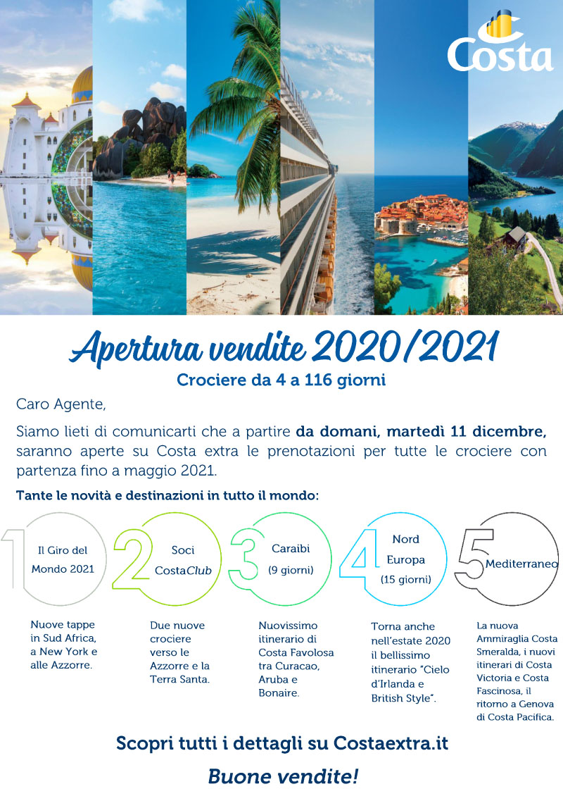 COSTA CROCIERE > APERTURA VENDITE 2020/2021
